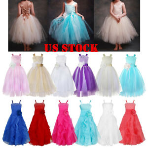 US Flower Girl Dress Kid Princess Party Wedding Pageant Formal Gown Tutu Dresses