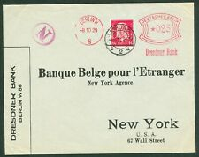 """Germany – Perfin """"Dr.B."""" (Dresdner Bank) on 1929 Cover (Front Only) to New York"""