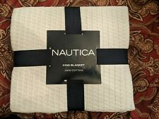 Nwt! Nautica Seabury Grey Solid 100% Cotton King Sized Knitted Blanket