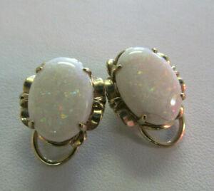 4Ct Oval Cut Fire Opal & Diamond Stud Omega Back Earrings 14K Yellow Gold Finish