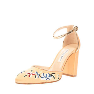 RRP €215 ROBERTO FESTA Satin D'Orsay Shoes EU 36 UK 3 US 6 Flowers Made in Italy