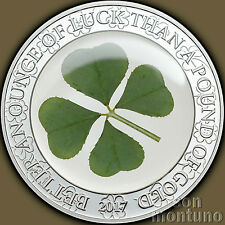 "2017 Palau - FOUR 4 LEAF CLOVER ""Ounce of Luck"" Silver 5 Dollar Proof Coin"
