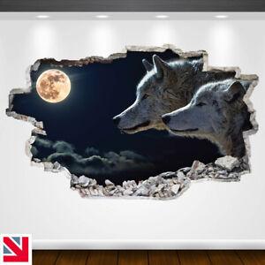 WOLVES MOON WOLF MOONLIGHT ANIMAL Wall Sticker Decal Vinyl Art A5