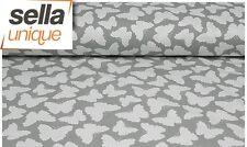 Baumwollstoff Meterware 0,5 lfm 100% Baumwolle Muster Schmetterlinge Punkte Grau