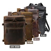 """Men Real Leather 16"""" Laptop Backpack Daypack Travel Bag Shoulder Bag School Bag"""