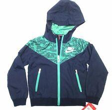 Nike boy's full zip hooded rain jacket blue green sz 5 (4) NWT $65 86A731-695