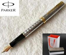 Parker Sonnet Series Silver Tartan Gold Clip 0.5mm Fine Fountain Pen New In Box