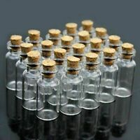 50pcs 1ml 11x22 mm Bottles Tiny Empty Clear Glass Bottles with Cork Stopper