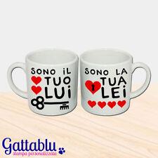 Set 2 tazzine da caffè espresso di coppia Sono il tuo Lui, Sono la tua Lei