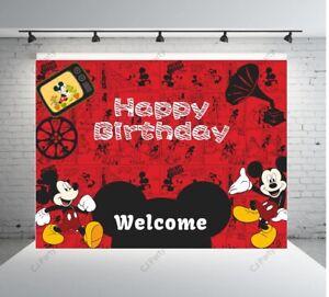 Mickey Mouse Happy Birthday Backdrop  Mickey Birthday Photo Backdrops 7x5ft