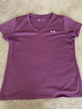Women's Under Armour Exercise Shirt Med Purple Short Sleeve