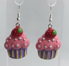 Pink purple strawberry Cupcake Yellow Star Earrings H052 5 Cm Long  Kawaii large
