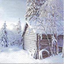 3 Servietten Napkins Weihnachten Winterlandschaft mit Hütte Schnee #308/1