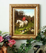 Blinks HUNTER n Gray Horse Print Antique Styl Fox Hunt Framed Hound dp fh