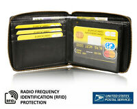 Mens Bifold Zip-Around Leather Wallet RFID Card Holder Purse Black Tan US Stock