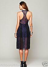 NEW Free People blue black Form Fitting Lace Midi Dress XS