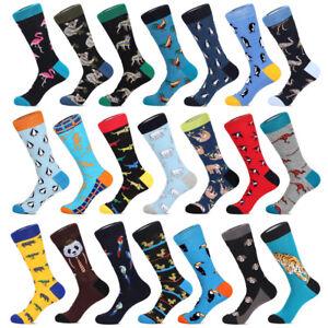 Mens Cotton Work Socks Fun Warm Novelty Cartoon Animal Big Size Dress Long Socks