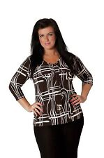 3/4 Sleeve No Striped Plus Size Tops & Shirts for Women