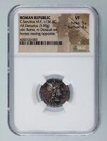 Roman Republic C. Servilius c. 136 BC AR Denarius NGC Graded VF St 5/5,  Su 4/5