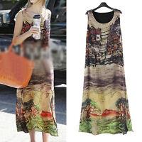 Womens Summer Casual Long Dress Sleeveless US Size 12 14 16 18 20 22 24 #71011L