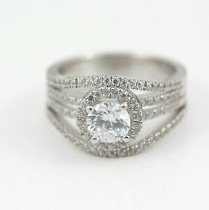 Split Shank Halo Engagement Ring 2.00 Ct Round Cut Diamond 10K White Gold Finish