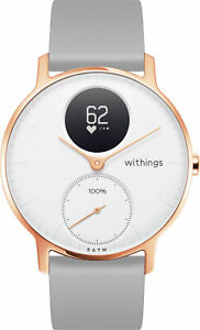 Withings STEEL HR ROSE GOLD 36mm weiß Silikon Armband grau Fitness-Tracker