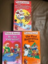 Lot of 3 Richard Scarry Video Busytown tape VHS xmas halloween be my valentine