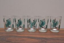 Set of 5 Atomic Era mid century vintage shot glasses