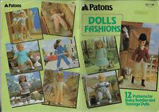 Dolls Fashions Patons 262 knitting pattern various yarns baby teenage Sindy