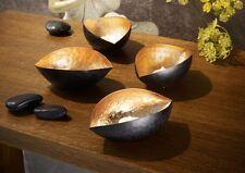 Teelichthalter Ellipse 4er Set gold/schwarz Eisen Kerzenhalter Teelicht Schalen#