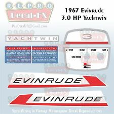 1967 Evinrude 3HP Yachtwin Outboard Reproduction 8Pc Marine Vinyl Decals 3736-37