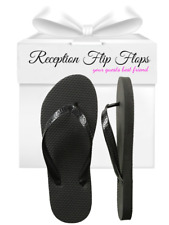 Womens Wholesale Bulk Wedding Guest Flip Flops, Black, 24 Pairs Assorted Sizes