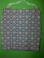 0437) NWT TALBOTS 20 20W black white geometric pencil skirt below knee new 20