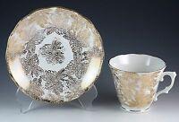 Vintage Bone China Colclough Gold Gilded Floral Tea Cup & Saucer England