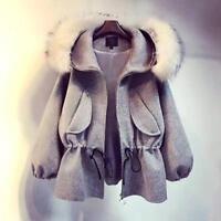 Women's Casual Hooded Fur Wool Blend Short Jacket Warm Coat Winter Fall Outwear