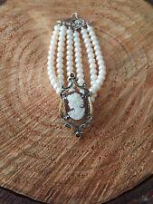 Bracciale stile antico argento 925 oro 9 kt perla cammeo sardonico made in italy