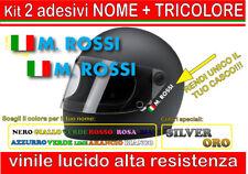 kit 2 adesivi CASCO NOME TRICOLORE, moto, scooter, enduro, sport, cross, nome