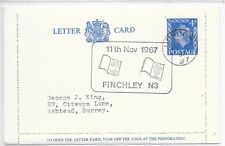GB SPECIAL CANCEL LETTER CARD H&B LCP24; PICTORIAL CANCEL 11.11.67 FINCHLEY.