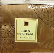 Rindge Stitched Leaves in Chocolate thread on Goldtone Fabric Shower Curtain