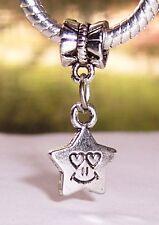 Smiley Face Star Heart Happy Love Dangle Bead for Silver European Charm Bracelet