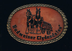 3.7 x 2.6 inch Budweiser Clydesdales Leather Belt Buckle in Antique Brass Oval