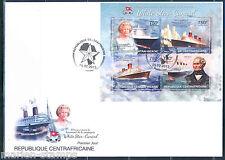 CENTRAL AFRICA  CUNARD LINE QUEEN ELIZABETH II RMS TITANIC SHEET FDC