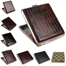 Newest Leather Metal Cigarette Box Pouch Case Holder Tobacco Storage Container