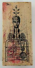 Funky STEAMPUNK Mechanical Sculpture Robot Rubber Stamp RARE