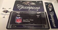 ULTIMATE FAN PACK! Baltimore Ravens Super Bowl XLVII Decals Car Auto Plate Frame
