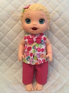 DOLLS CLOTHES to fit 12in BABY ALIVE - CUTE MULTI-COLOURED TOP & TROUSER SET