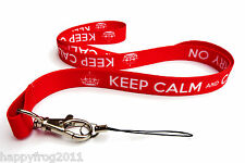 Keep Calm and Carry on Lanyard Neck Strap Mobile ID Keys iPod Mp3 ...