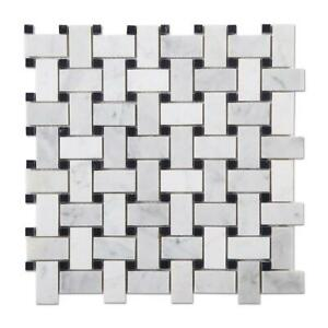 Carrara Polished Marble, Mosaic Tiles Samples, Basketweave, Decor Marble Tile