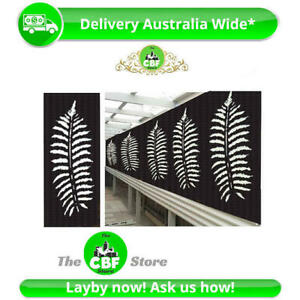 5 PACK - Fern Leaf-AUS Made Wooden Screens- Smooth-Sealed Charcoal - 600x1200mm