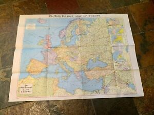 Large Vintage Map of Europe (Daily Telegraph) Early 1970s